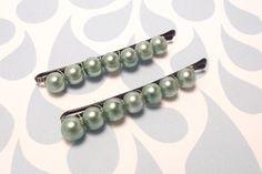Mint Pearl beaded bobby pins by JMEBeads on Etsy, $5.00
