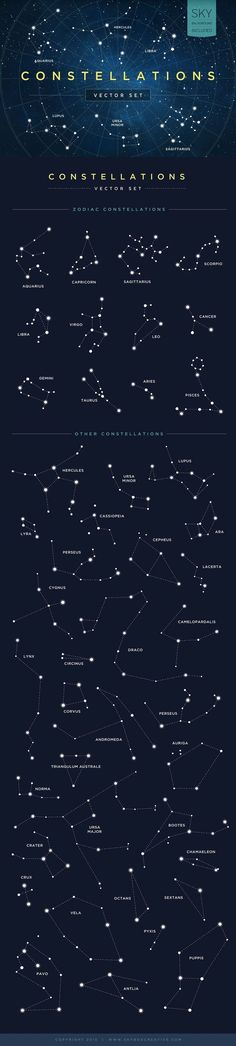 Constellations Vector Set by skyboxcreative #Illustration #Constellation: