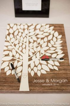 Rustic Wood Wedding Tree Canvas | Guest Book Alternative | Rustic Wedding | Customer Photo | Wedding Color - Red | peachwik.com