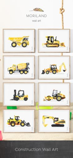 Crawler Bulldozer, Bulldozer Print, Construction Wall Art, Transportation, Kids Room Decor, Construction Birthday, Big Boy Decor, Printable, Dump Truck Art, Cement Mixer, Backhoe Loader, Forklift, Steam Roller, Excavator, Construction Party Decorations, Ideas, DIY, Yellow, Watercolor, Instant Download. By MORILAND Wall Art