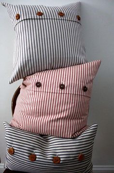 blue ticking stripe pillow cover by willaby on Etsy/ Beach I love these pillows Diy Pillow Covers, Decorative Pillow Covers, Pillow Set, Cushion Covers, Heart Pillow, Sewing Pillows, Diy Pillows, Throw Pillows, Handmade Pillows