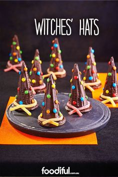 For a Halloween chocolate recipe, this one take the cake, or, witches' hat! Using melted chocolate, digestive biscuits, ice-cream cones and lollies, these will keep little monster preoccupied this Halloween.