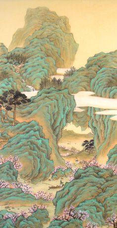 안중식 도원행주도 Chinese Landscape Painting, Korean Painting, Chinese Painting, Landscape Art, Landscape Paintings, Japanese Drawings, Japanese Artwork, Japanese Prints, Graphic Wallpaper