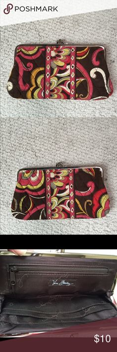 Vera Bradley Puccini clutch wallet Vera Bradley Puccini clutch wallet. Inside looks brand new.  Worn spots Shown in third and fourth picture. Vera Bradley Bags Clutches & Wristlets