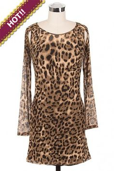 Sheer Body Hugging Min Dress in Sexy Leopard Print with Studded Sheer Sleeves and Detached Underarm Accent. #salediem wants you to ROAR!Enjoy your #animalprint #fall#fashion Shipping is FREE!