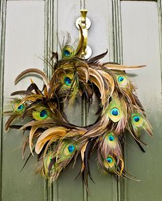 How wonderful these feathers reflect the colour of the door and the brass knocker.
