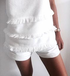 Close up detail of the Fringe Sleeveless Tunic & Hampton Shorts, also available in Black in Boutiques & Online xx