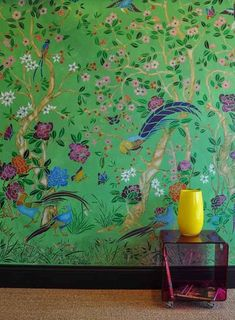 Stencil Library with all kinds of stencils, page has different color combinations for stenciling beautiful chinoiserie wall, from colorful to subtle Wallpaper Stencil, Chinoiserie Wallpaper, Wall Wallpaper, Accent Wallpaper, Living Room Green, Green Rooms, Wall Murals, Wall Art, Art Asiatique