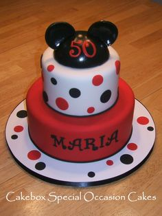 Mickey Mouse themed birthday cake for an adult.