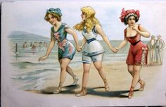 Heavy embossed Girls in their Bathing suits, Transition attire, Graded Fine by JerryBurton on Etsy