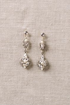 Sara Gabriel 'Michelle' drop earrings with Swarovski crystal and pearls.