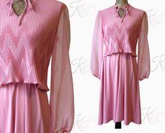 70s Vintage Valentine's Day Dress-Pink Dress-Sheer Dress-Vintage Medium Dress-Vintage Large Dress-Romantic Dress-Hippie-Valentines Outfit $54 via Kay Dove Vintage