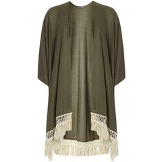 Dorothy Perkins **Vero Moda Khaki Fringed Cover Up (£19) ❤ liked on Polyvore featuring swimwear, cover-ups, cardigans, jackets, outerwear, khaki, cover up beachwear, fringe cover up, swim cover up and cover up swimwear