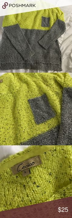 Sequin Knit Sweater Sequin Knit Sweater bought from a boutique online. Has little silver sequins throughout.. two tone. Kind of a neon yellow/green on top, and grey on the bottom. Super comfy and really cute with leggings or dark jeans. Only worn two or three times. Cecico Sweaters Crew & Scoop Necks