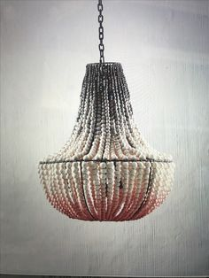Our gorgeous handmade clay bead chandelier in blush and grey Ombre for klaylife. hellooow.co.za  #hellooow #handmade #southafrica #ceramic #pendant #light #claychandelier #chandelier #claybead #ceramicbead #bespoke #designer #gorgeous #custommade #klaylifehellooow #ombre #blush