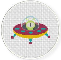 Alien in UFO Cross Stitch Pattern