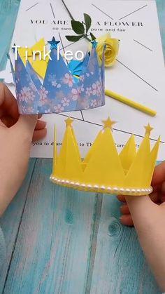 DIY Children's Birthday Crown - Kinderbetreuung Diy Crafts Hacks, Diy Crafts For Gifts, Creative Crafts, Crown Crafts, Diy Crown, Cool Paper Crafts, Paper Crafts Origami, Diy Origami, Diy Birthday Crown