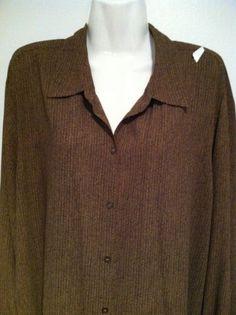NWT LIZ CLAIBORNE Long Sleeve Herringbone-Button-Shirt 50 Bust SZ XL