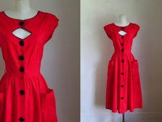 vintage 1970s dress - YOUNG EDWARDIAN red peekaboo dress / S by MsTips on Etsy https://www.etsy.com/listing/543427072/vintage-1970s-dress-young-edwardian-red
