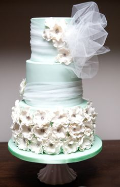 great british cupcakery wedding cakes aqua white and silver tiered cake gumpaste peonies 14919