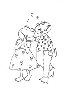 Silly Valentine Frogs   Dearie Dolls Digi Stamps
