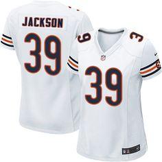 Women's Nike Chicago Bears #39 Eddie Jackson Game White NFL Jersey