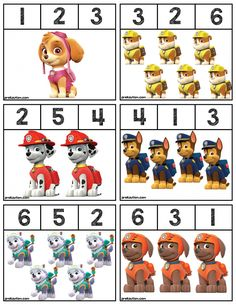 PAWPATROL umber Clip Cards Free Printable Materials For Working On Basic Skills Pawpatrol Homeschool Autism Free Paw Patrol Number Clip Cards Great For Teaching Number Skills With Preschool Or Kindergarten Kids Kindergarten Math Worksheets, Preschool Learning Activities, Kindergarten Lessons, Homeschool Kindergarten, Worksheets For Kids, Toddler Activities, Preschool Activities, Preschool Writing, Toddler Preschool