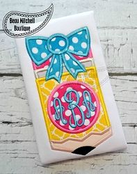 Pencil Monogram Applique - 3 Sizes! | What's New | Machine Embroidery Designs | SWAKembroidery.com Beau Mitchell Boutique