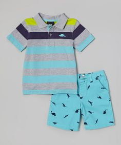 Light Blue Stripe Polo   Dinosaur Shorts - Infant by 01e67075f462