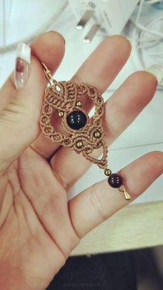 68 cm long plus 7.5 cm pendant rocailles-weaving piece ethno Great necklace hippie style