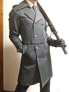 A fabulous men's trench coat Male Clothes, Character Design Inspiration, Style Inspiration, Poses References, Lolita, Action Poses, Character Outfits, Look Cool, Costume Design