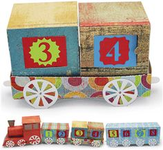 3d advent calendar train flat car-------------------I think I'm in love with this shape from the Silhouette Online Store!
