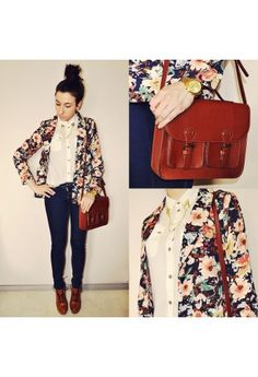Flower Print Blazer in Navy