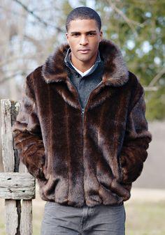 Sable Faux Fur Men's Bomber Jacket | Fabulous-Furs