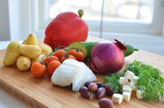lomo bacalao ensalada griega ingredientes