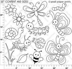 Cute Bugs Digital Stamps por pixelpaperprints en Etsy