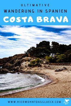 """Wandern an der Costa Brava. Erkunde die nordöstliche Küste Spaniens zu Fuß! Der Weitwanderweg an der spanischen Costa Brava wird als GR 92 bezeichnet. Der 220 km lange Weg startet im kleinen Örtchen Portbou, welches an der spanisch-französischen Grenze liegt, und verläuft bis zur bekannten Partystadt Lloret de Mar. Die Costa Brava (span. """"Wilde Küste"""") zeigt sich dabei von ihrer besten Seite. Wir finden der schönste Weitwanderweg Europas! #hike #spanien #costabrava Roadtrip, Costa, Beach, Water, Outdoor, Small Places, Europe Travel Tips, Tours, Water Water"""