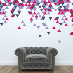 Ideas For Wall Painting Ideas Geometric Triangles Paint Designs, Wall Art Designs, Wall Design, Office Wall Graphics, Triangle Wall, Triangle Pattern, Kitchen Wall Colors, Bedroom Wall Colors, Geometric Wall Art