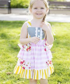 Look what I found on #zulily! Yellow & Pink Ruffle Tie-Back Dress - Infant, Toddler & Girls by Be Girl Clothing #zulilyfinds