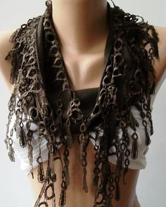 Brown  pashmina Shawl / Scarf with Lacy Edge by womann on Etsy, $13.50
