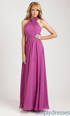 Long Halter Chiffon Dress by Allure Bridesmaid at PromGirl.com