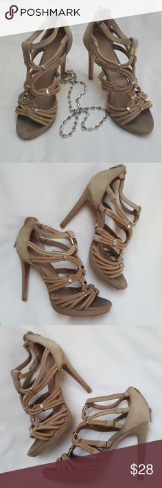 """BCBGeneration suede platform shoes Nude sued shoes, , 4.5 heels, 1/2"""" rise, A few blemishes (see pictures) hard to see though. BCBGeneration Shoes Platforms"""