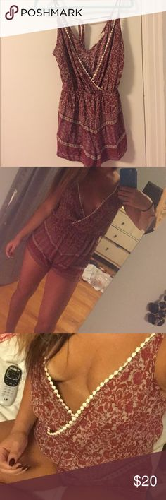Romper Very comfortable, ties in back for adjustment, you can wear a bandeau under or a tank top (optional), maroon color, boutique bought, worn once Other