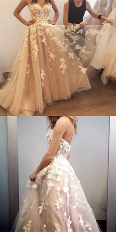 Unique Prom Dresses, Champagne Tulle Prom Dress, Sweetheart Princess Party Dresses With Floral Lace, There are long prom gowns and knee-length 2020 prom dresses in this collection that create an elegant and glamorous look Cute Prom Dresses, Dresses Short, Prom Dresses 2018, Long Prom Gowns, Tulle Prom Dress, Evening Dresses, Bridesmaid Dresses, Lovely Dresses, Dance Dresses