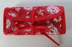 Crochet Hook Case Red White Roses White Dot Quilted Bag by RoxannasBags on Etsy