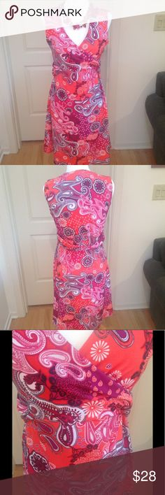 Prana dress, EUC, size L This lovely faux wrap super comfy Prana dress is size large, 45% recycled polyester, 45% polyester, 10% spandex. Excellent condition. Fun fact...there is a small hidden pocket near the hem, as shown in photo 6!! See photos for measurements. Prana Dresses