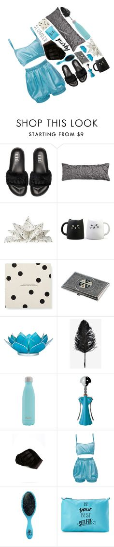 """""""Slumber Party Style'"""" by dianefantasy ❤ liked on Polyvore featuring Puma, Donna Karan, Kate Spade, Cultural Intrigue, S'well, Alessi, LISKA, Roses Are Red, The Wet Brush and Stella & Max"""
