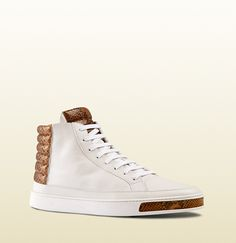 Gucci - leather and python high-top sneaker 375084AYOM09066
