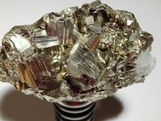 Hand made Pyrite Wine Stopper also fits most olive oil bottles. Crafted by Crystal Luxe Lighting PLUS!  $35.