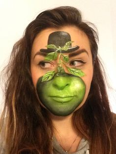 Rene Magritte-inspired face paint by Eleanor Ross,Spectrum Face Painting & Body Art.